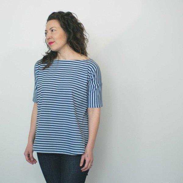Jennifer Glasgow Paravane Top in Blue Stripe