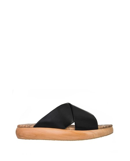 Sydney Brown Cross Slide - Black