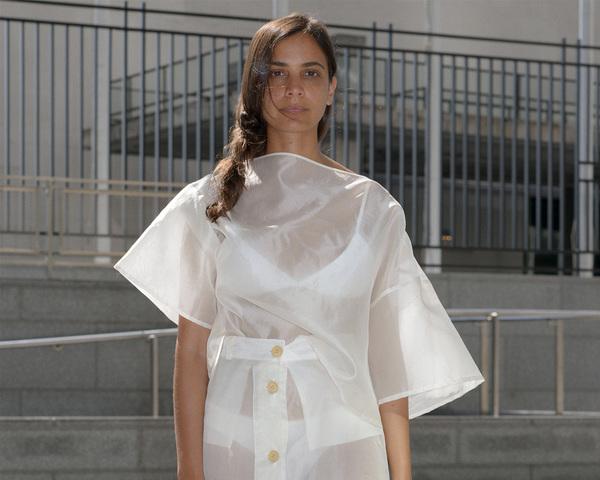 Pharr Tee  Silk Organza Top - Off White