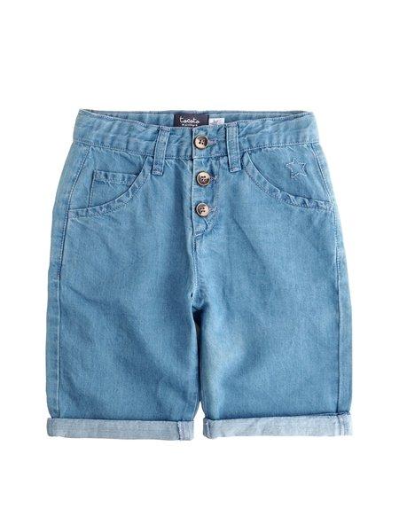 Kids Tocoto Vintage Linen Bermuda in Blue