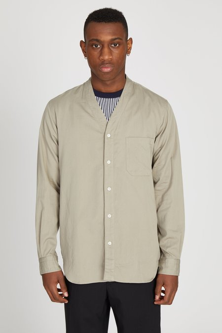 TS(S) Swiss Satin Cotton Cardigan Shirt - Beige