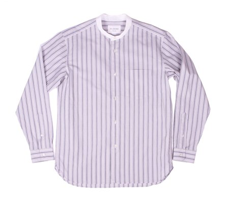 Still By Hand Banded Collar Striped Shirt - Grey