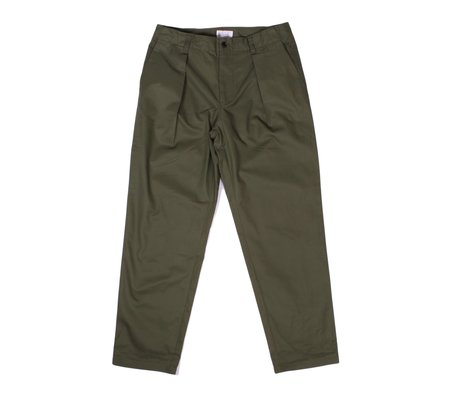Still By Hand Deep Tuck Twill Trousers - Olive