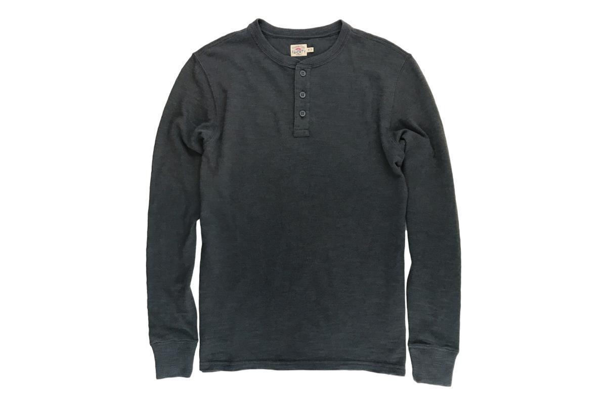 b0d931a6 Faherty Brand Slub Cotton Henley - Charcoal | Garmentory