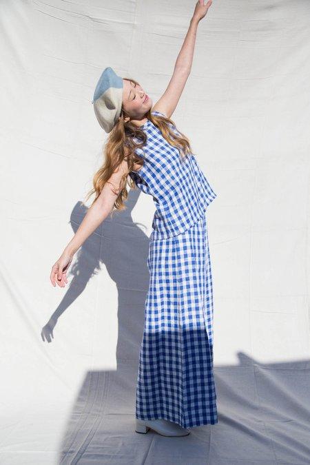 Nikki Chasin NOVAK SHELL TOP - BLUE CHECK LINEN