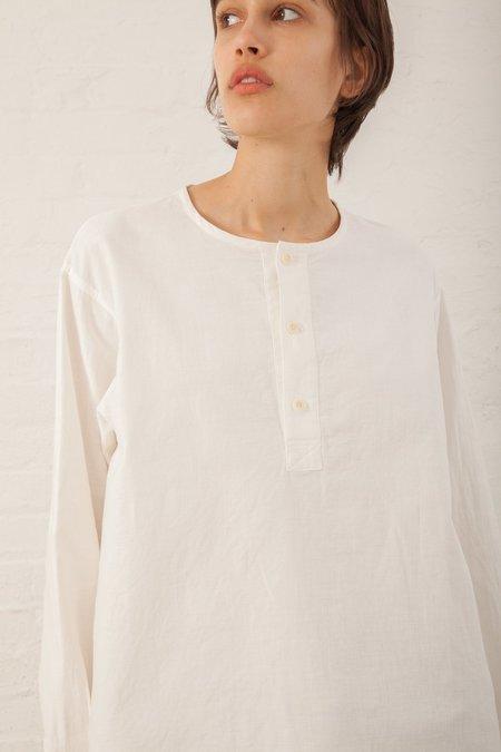 Chimala Long Sleeve Henley Shirt Panama Cloth in Off White
