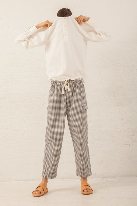 Chimala Military Drawstring Work Pants in Gingham Check