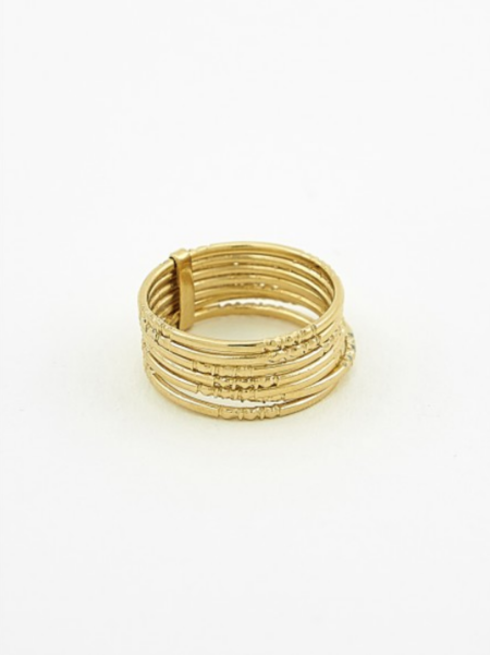 Ombre Claire 7 thin engraved rings vermeil