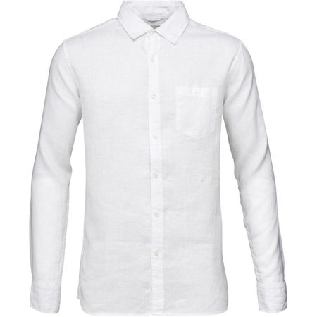 knowledge cotton apparel Fabric dyed linen shirt in bright white