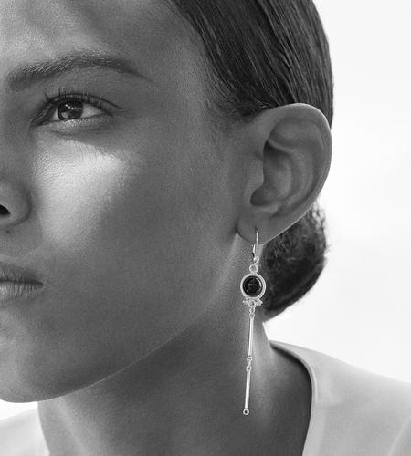 Luz Ortiz Agate Earrings - Silver/Black
