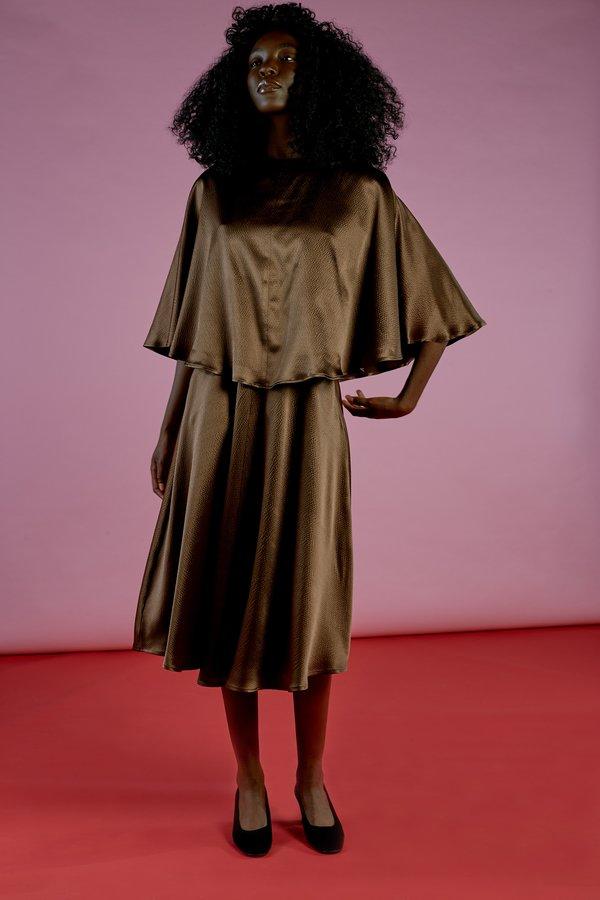 Wolcott : Takemoto Kepu Dress in Mesquite Hammered Silk