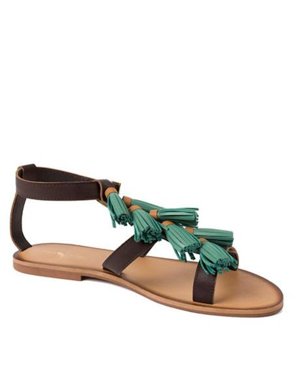 Nice Things Tassel Sandals in Green