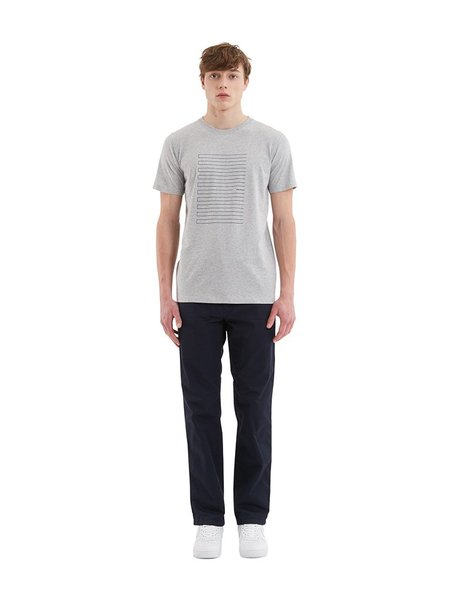 Norse Projects Niels Stripe Logo T-Shirt in Grey