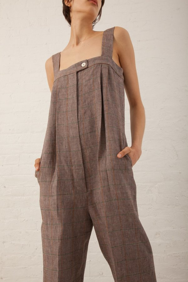 Hache Overall Jumpsuit - Brown Check