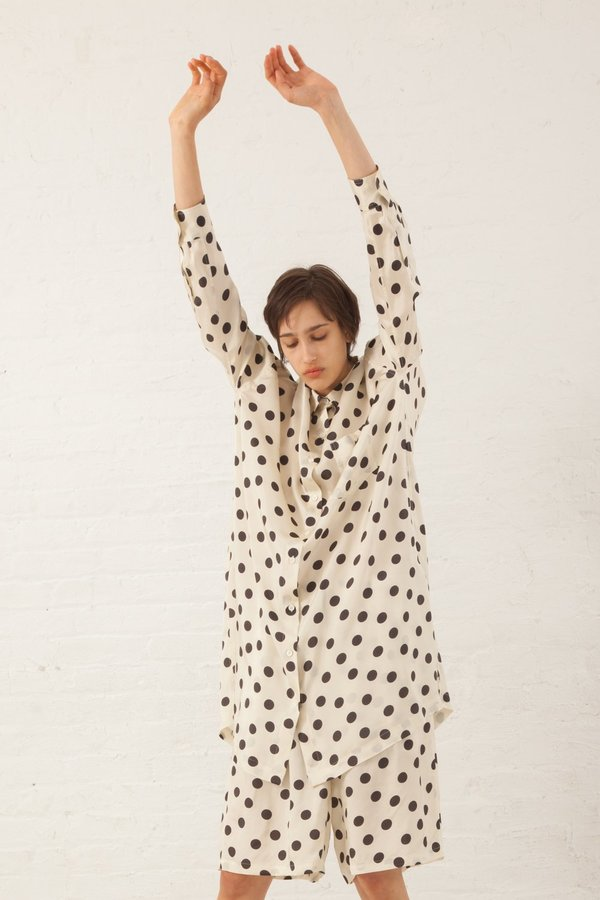 Hache Polka Dot Button Up Shirt - Ivory/Black