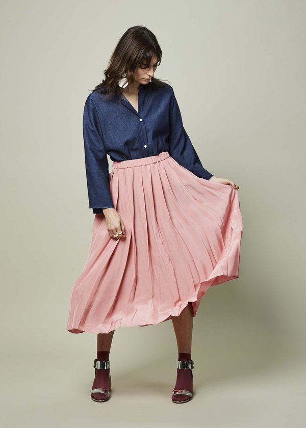 Sara Lanzi Viscose Pleated Skirt - Pink