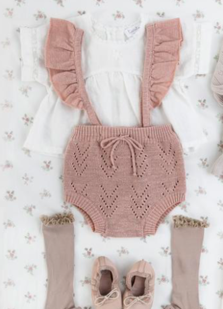 Kids Tocoto Vintage Pink Knit Culotte With Suspenders