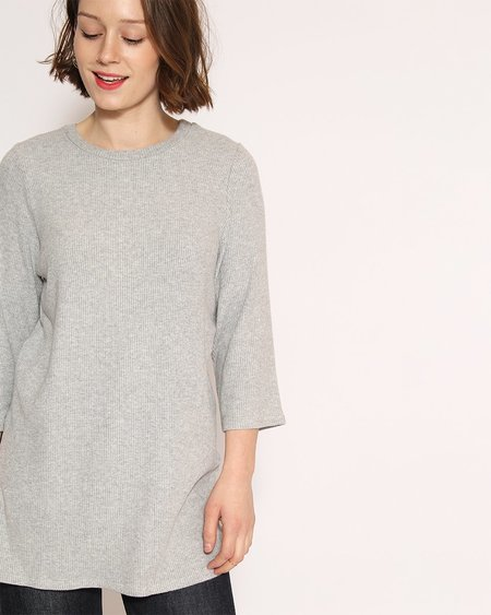 Corinne Nana Side Slit Sweater in Heather Grey