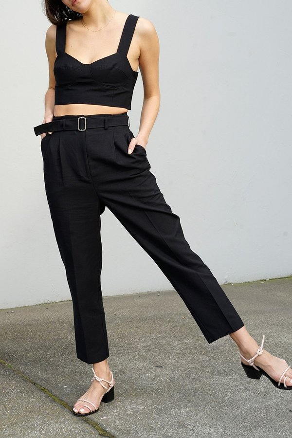 Waltz Pleated Trousers with Belt - Black