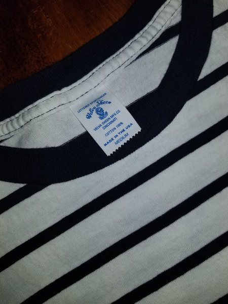 Velva Sheen Uneven Boarder S/S Tee w/Pocket - Navy/White Stripe