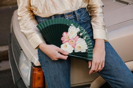 FERN FANS Floral Beach Rose Fan