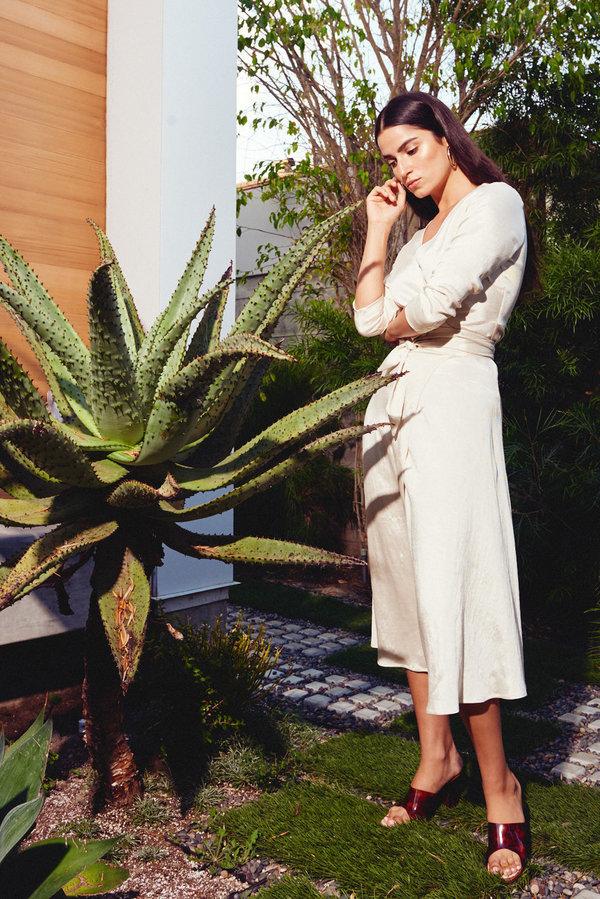Kamperett Linden Midi Wrap Dress - Ivory