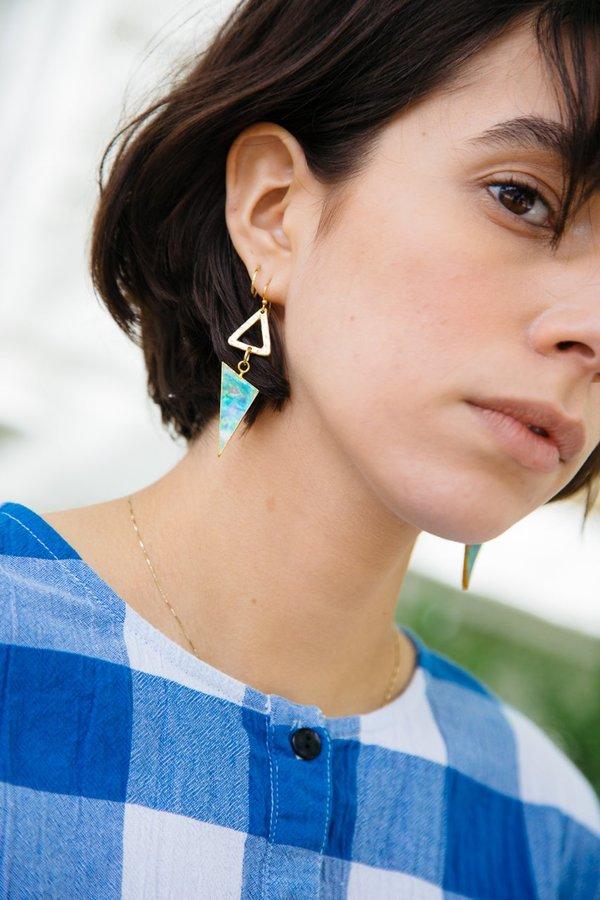 Sheila B Triangle Abalone Earrings