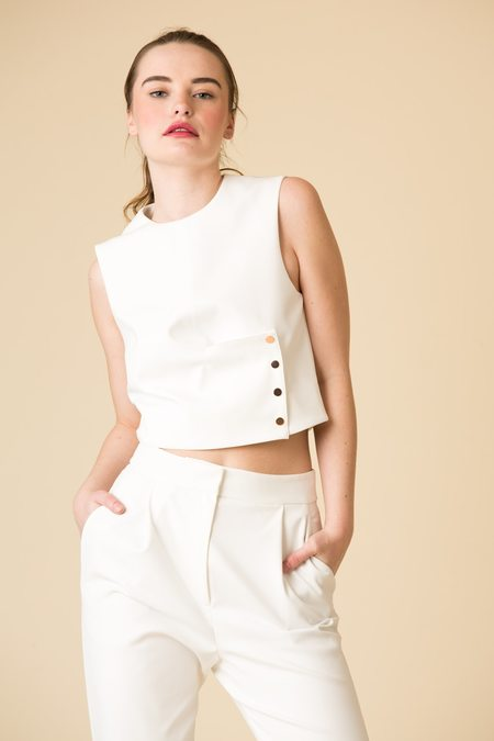 Tibi Agathe Sleeveless Top With Snap Detail