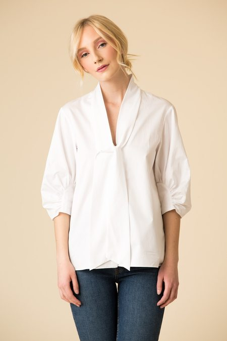 Tibi Satin Poplin Tie Neck Top