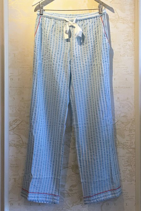 Morgan Lane Seersucker Cotton 'Chantal' PJ Pant - Light Blue
