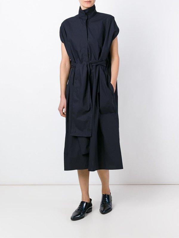 Sofie D'Hoore Drape Crop Ring Neck Belted Dress - Midnight