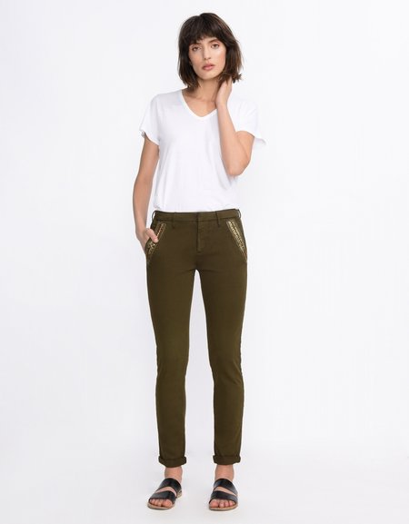 Reiko SANDY RIBBON CHINO - DARK KHAKI