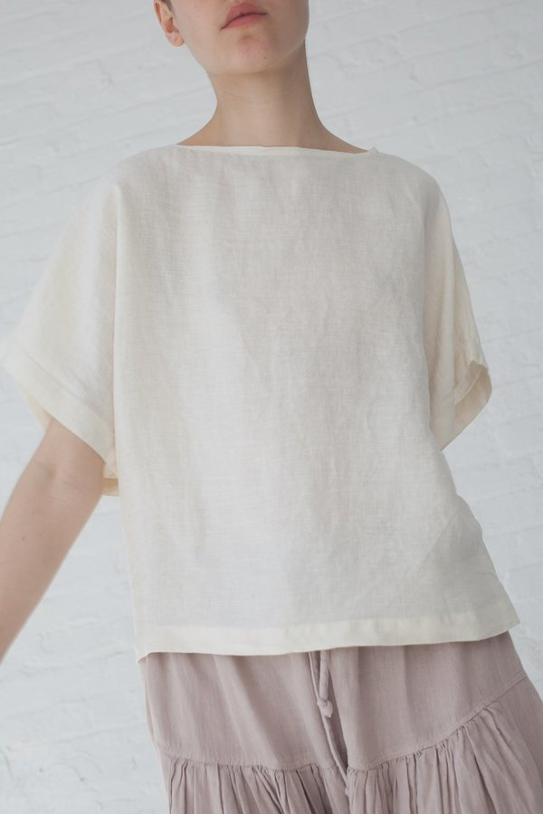 Black Crane Linen Woven Box Top - Cream
