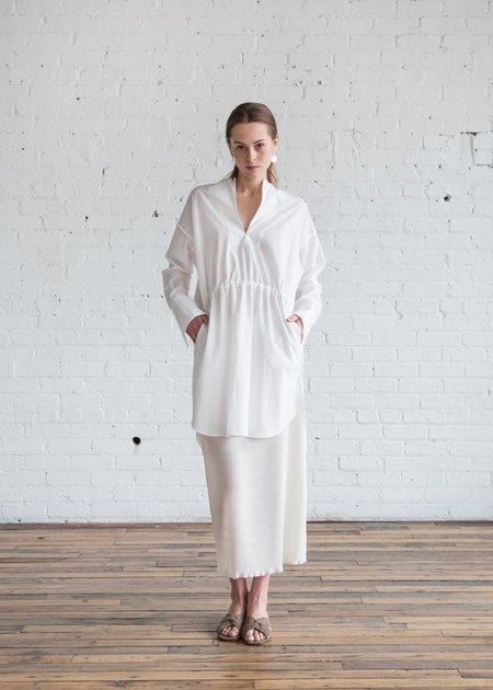 Nomia Oversized Tunic w/ Binding - White