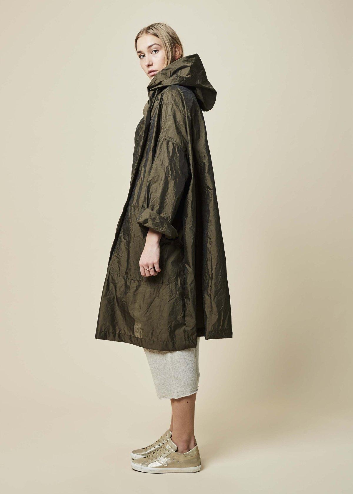 14ef7c404 Raffauf Hooded Oversize Spring Coat - Olive