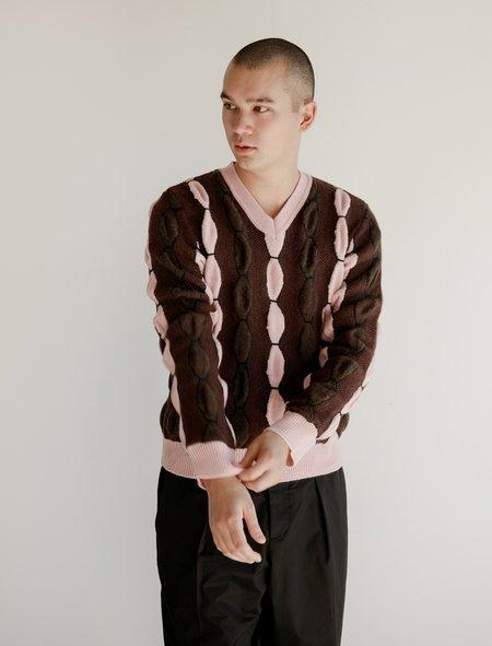 Marni Mens L/S V Neck Sweater - Intarsio Mix Stitch