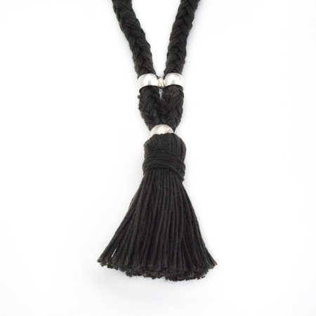Erin Considine Traid Rope Necklace - Solid Logwood Black Linen