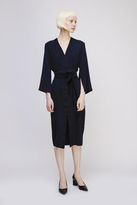Aki Studio V Neck Dress with Belt