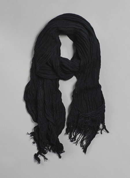 Grei. Hand Dyed Selvedge Scarf - Black