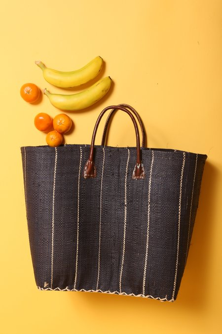 le Market Summer Market Bag - Black Raffia