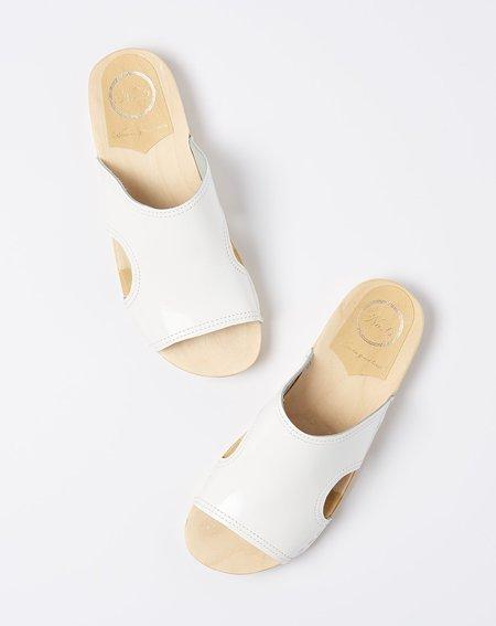No.6 Alexis Cut Out Slide - White Patent
