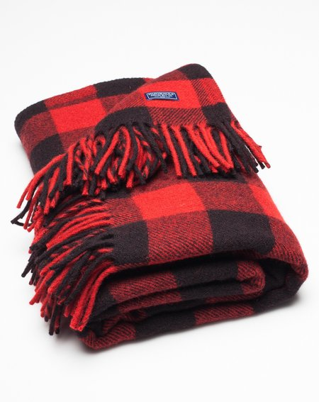 Faribault Woolen Mill Buffalo Throw in Black and Red