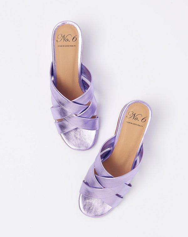 No.6 Orlando Woven Wedge - Violet Metallic