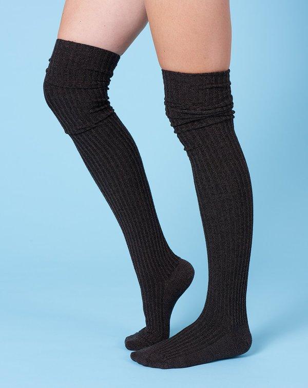 Baserange Overknee Silk Socks in Dark Brown
