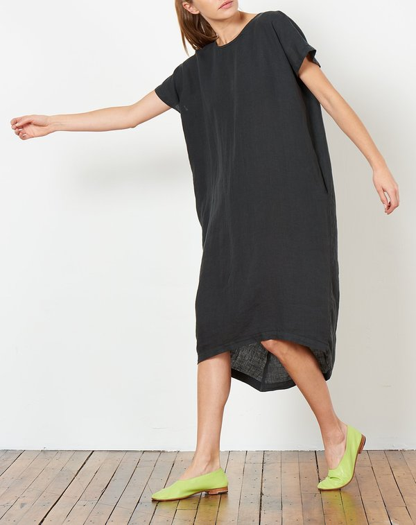 Black Crane Pleated Cocoon Dress in Green Black
