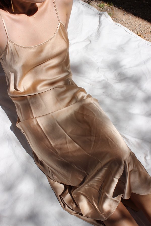 Voz Liquid Silk Midi Slip - Blush