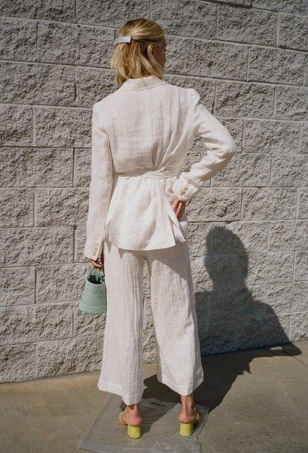 Da/Da Diane Ducasse Wrap Blazer White Linen