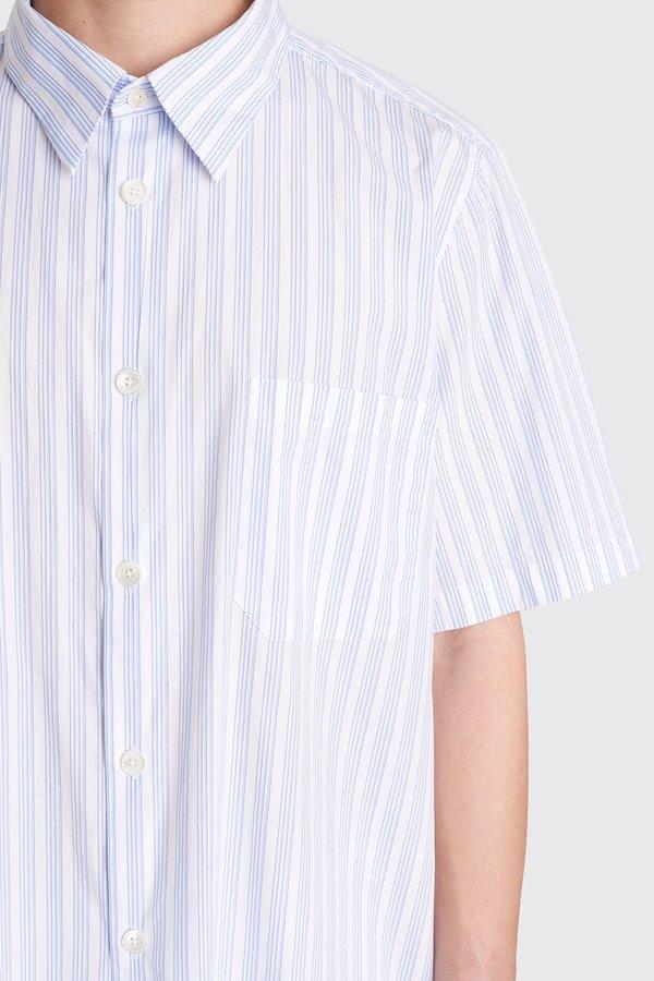 Tres Bien Tourist Poplin Shirt  - Big Stripe White/Blue