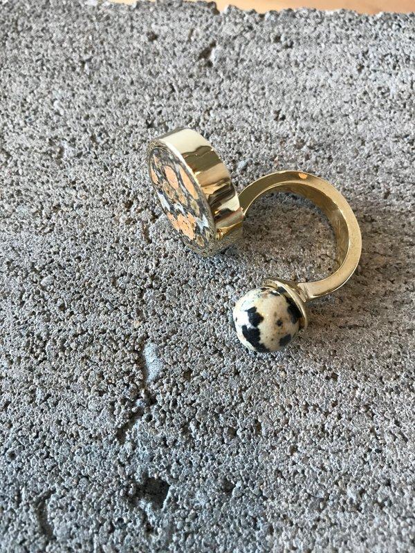 Quarry Jaspe Double Ring, Brass - Leopard Skin & Dalmatian