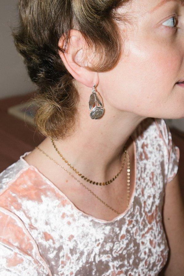 Open House Pressed Flower Earring - Silver